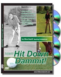 Hit Down Dammit! golf swing, instruction, cd, multimedia, golf tips