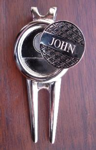 Engraved Ball Marker, Divot Repair Tool, Hat Clip